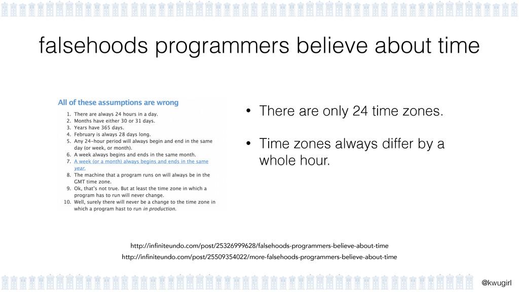 ! @kwugirl falsehoods programmers believe about...