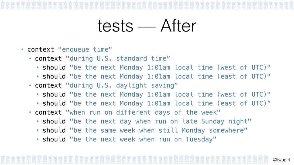 "! @kwugirl tests — After • context ""enqueue tim..."