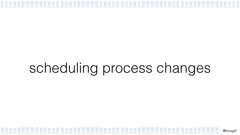 ! @kwugirl scheduling process changes