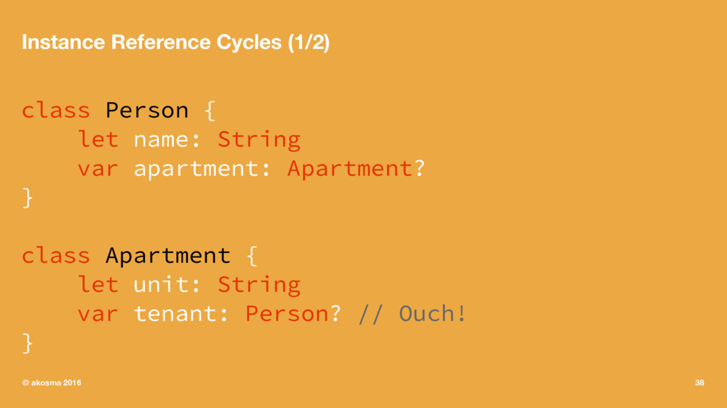 Instance Reference Cycles (1/2) class Person { ...