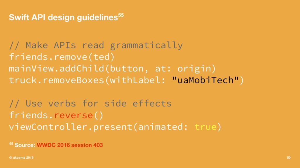 Swift API design guidelines55 // Make APIs read...