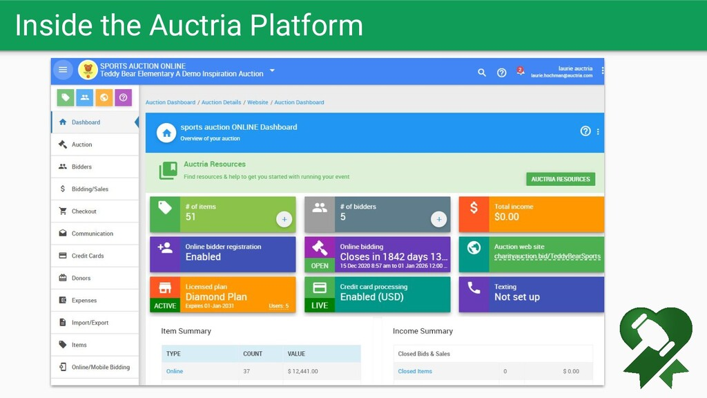 Inside the Auctria Platform