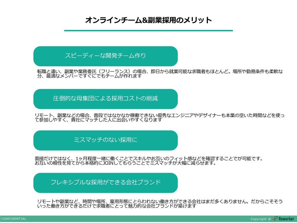オンラインチーム&副業採⽤のメリット CONFIDENTIAL Copyright @ スピー...