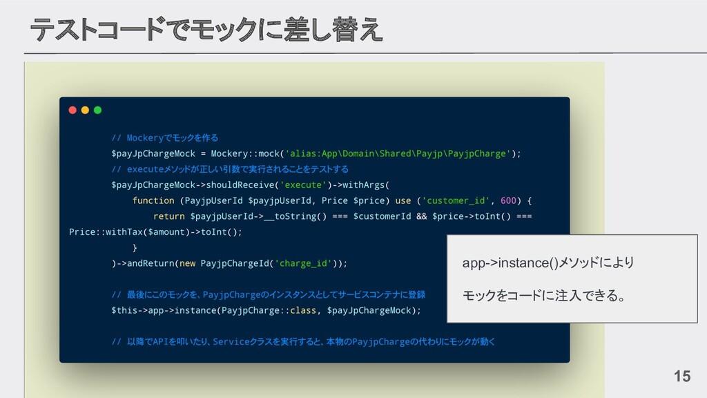 テストコードでモックに差し替え 15 app->instance()メソッドにより モックをコ...