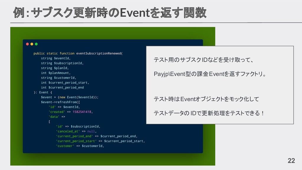 例:サブスク更新時のEventを返す関数 22 テスト用のサブスクIDなどを受け取って、 Pa...