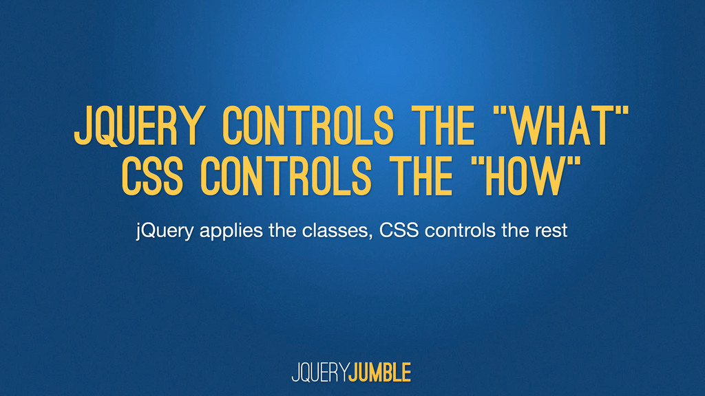 jQuery applies the classes, CSS controls the re...