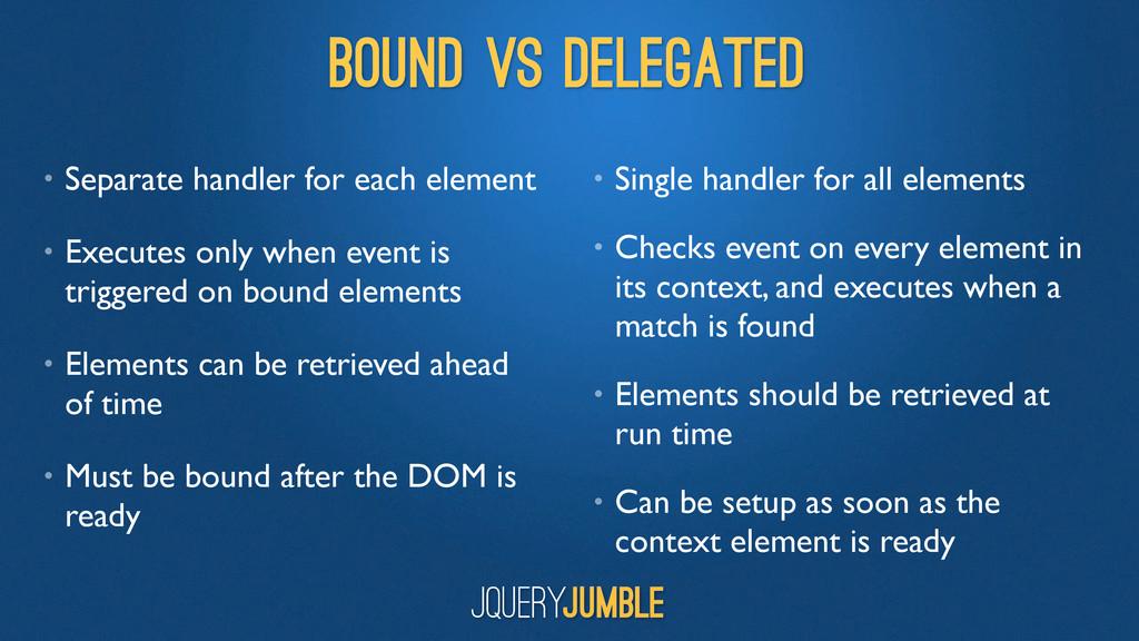 BOUND vs DELEGATED • Separate handler for each ...