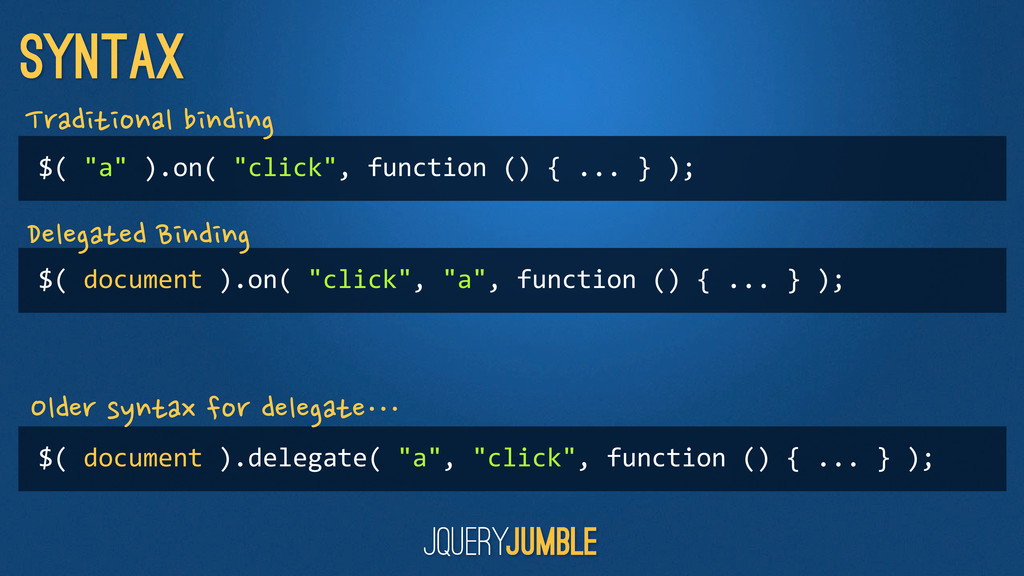 """syntax $( """"a"""" ).on( """"click"""", functi..."""