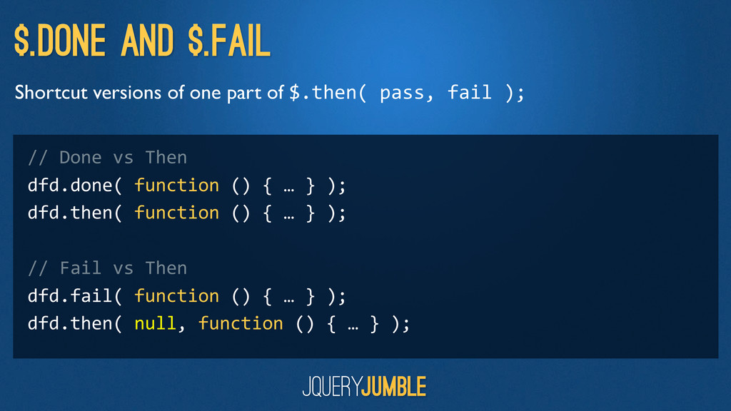 $.done and $.fail Shortcut versions of one part...