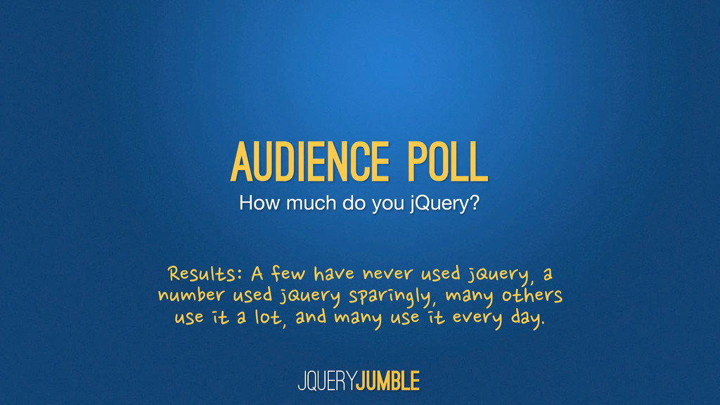 How much do you jQuery? audience poll Results: