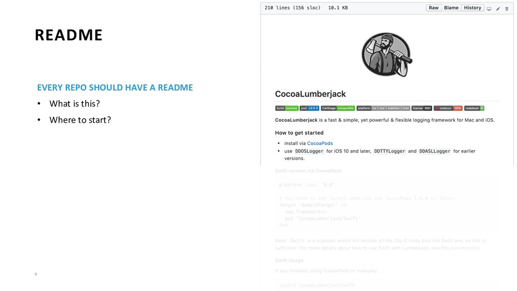 9 README EVERY REPO SHOULD HAVE A README • What...
