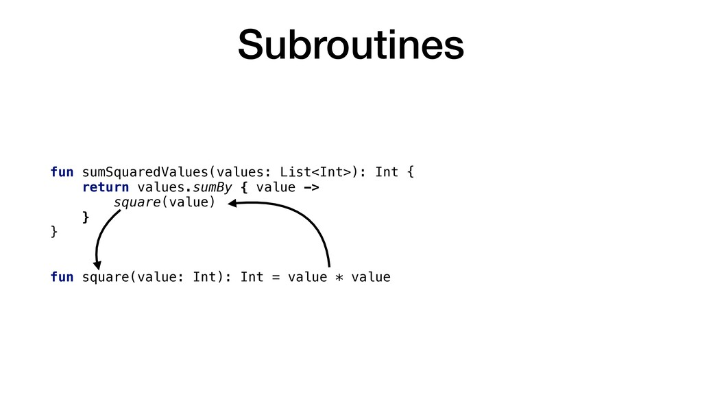 Subroutines fun sumSquaredValues(values: List<I...