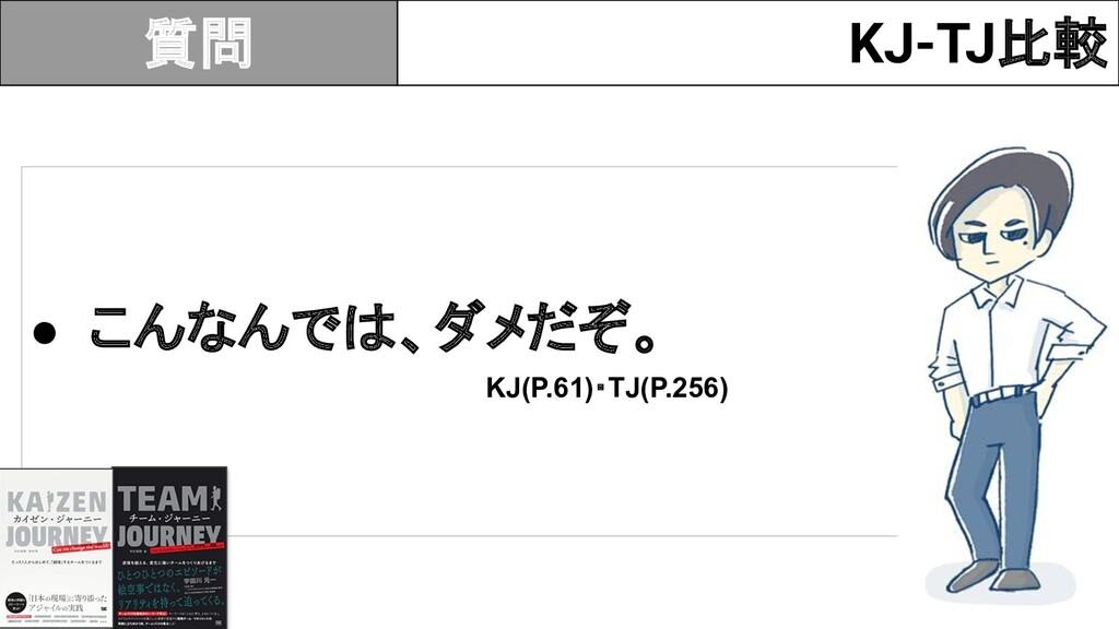 KJ-TJ比較 ● こんなんで 、ダメだぞ。 KJ(P.61)・TJ(P.256) 質問