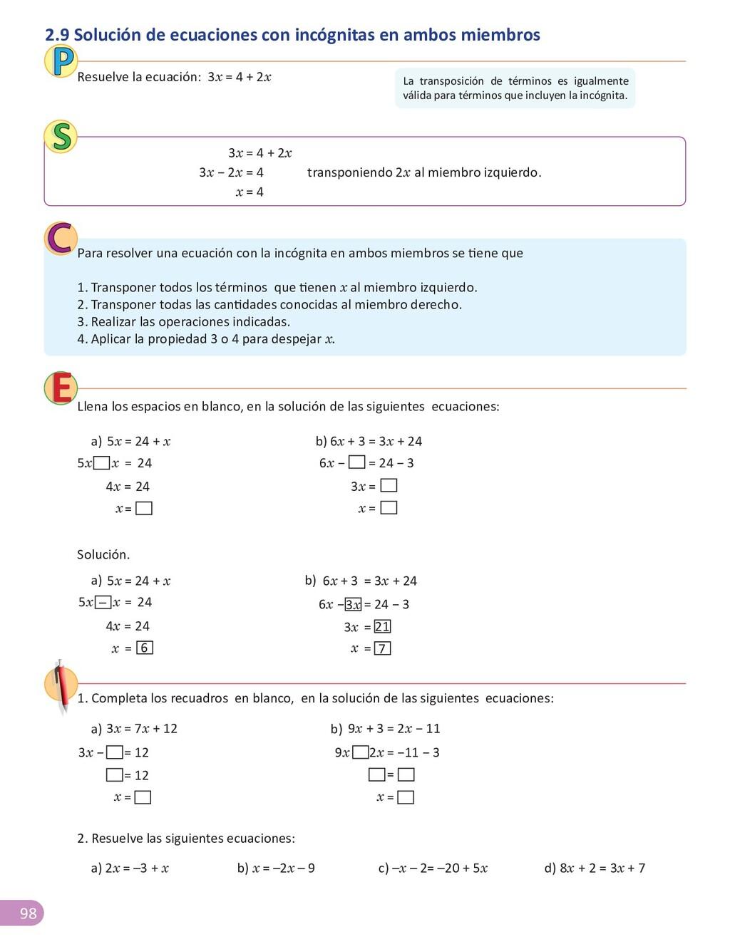 98 2. Resuelve las siguientes ecuaciones: 4 + 2...