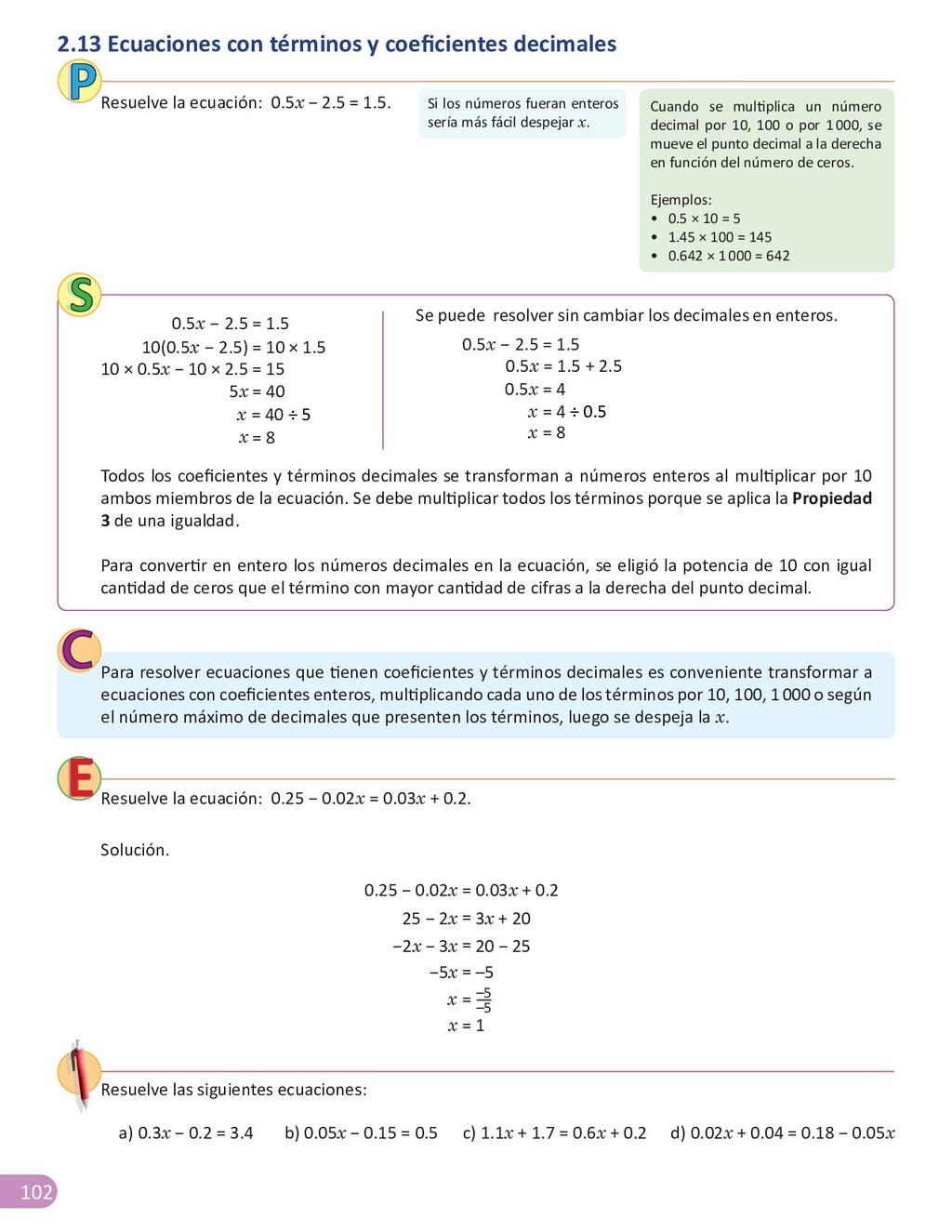 102 Resuelve la ecuación: 0.25 − 0.02x = 0.03x ...