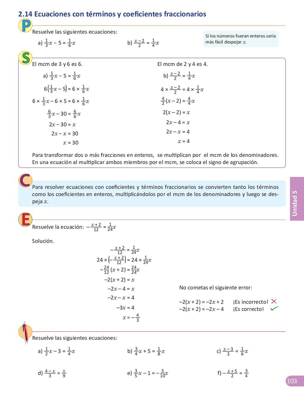 103 Unidad 5 Para resolver ecuaciones con coefi...