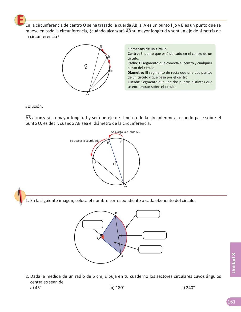 161 Unidad 8 En la circunferencia de centro O s...