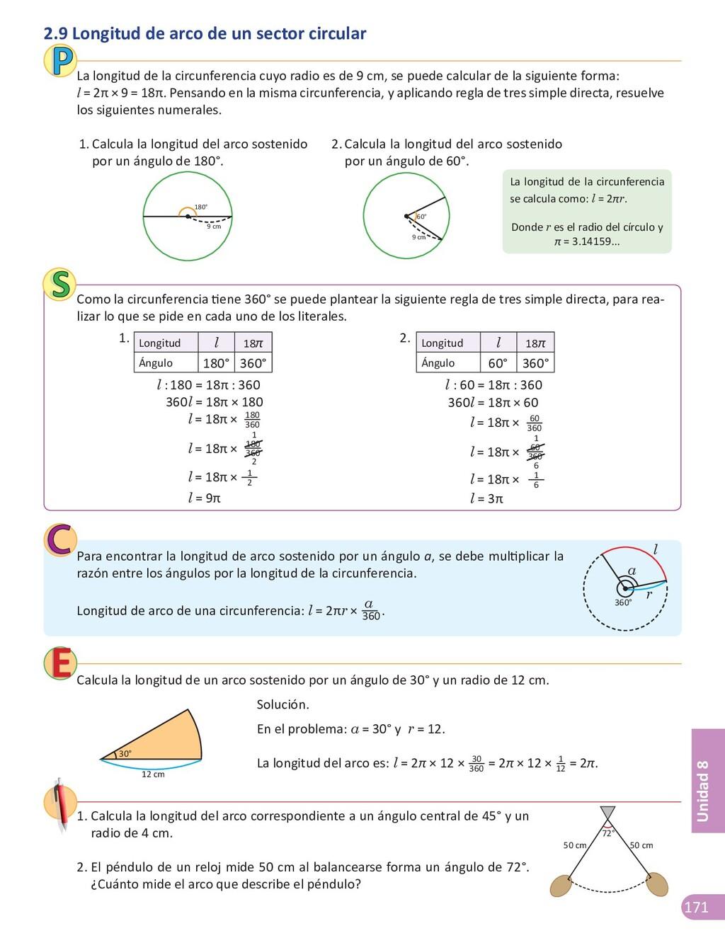 171 Unidad 8 Calcula la longitud de un arco sos...