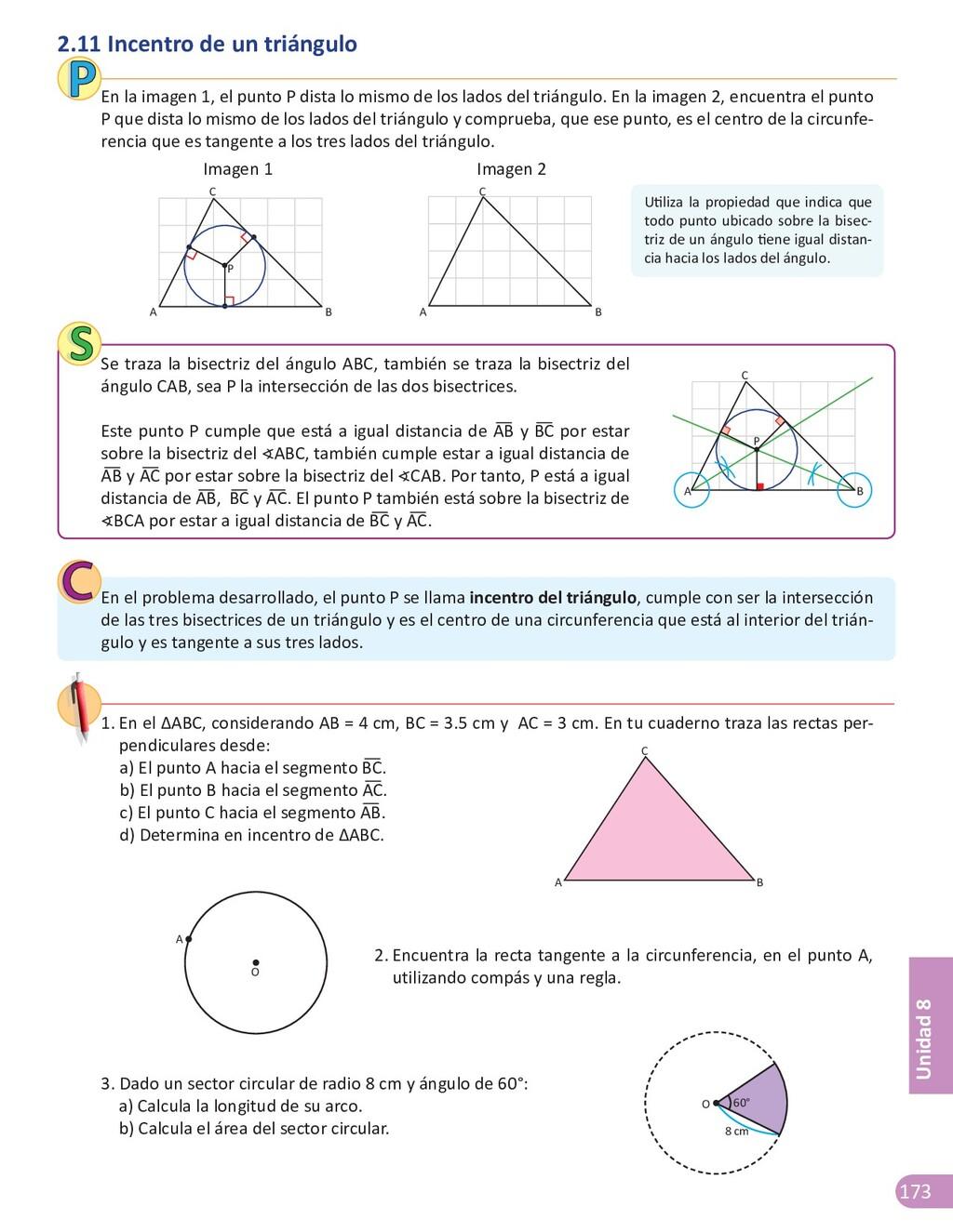 173 Unidad 8 2.11 Incentro de un triángulo En l...