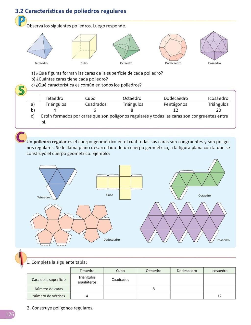 176 3.2 Características de poliedros regulares ...