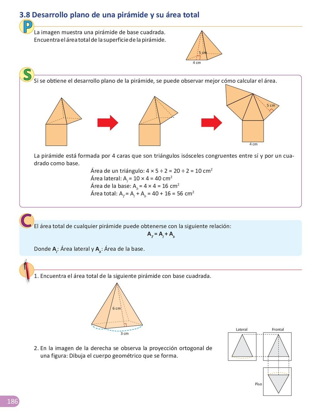 186 3.8 Desarrollo plano de una pirámide y su á...