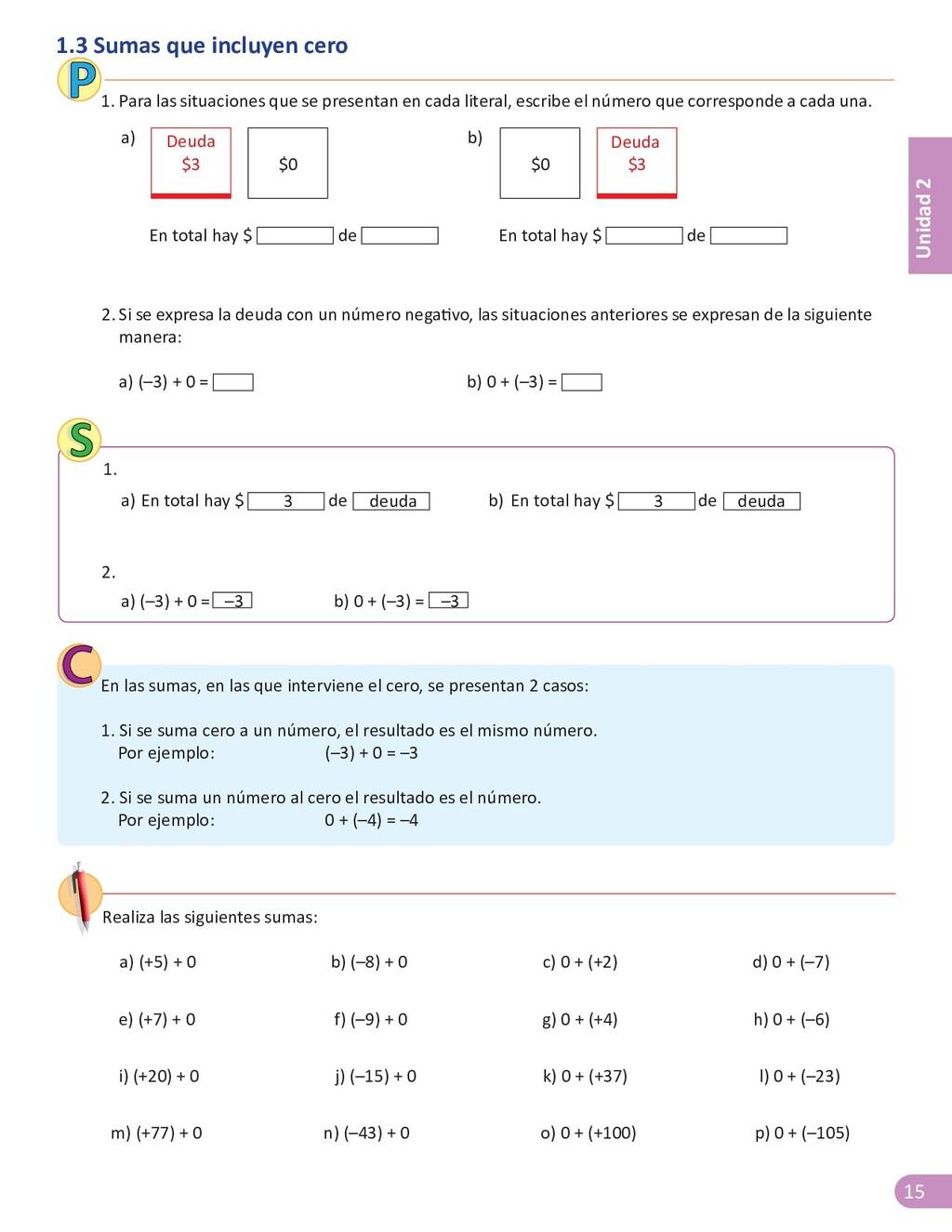 15 Unidad 2 1.3 Sumas que incluyen cero a) (+5)...