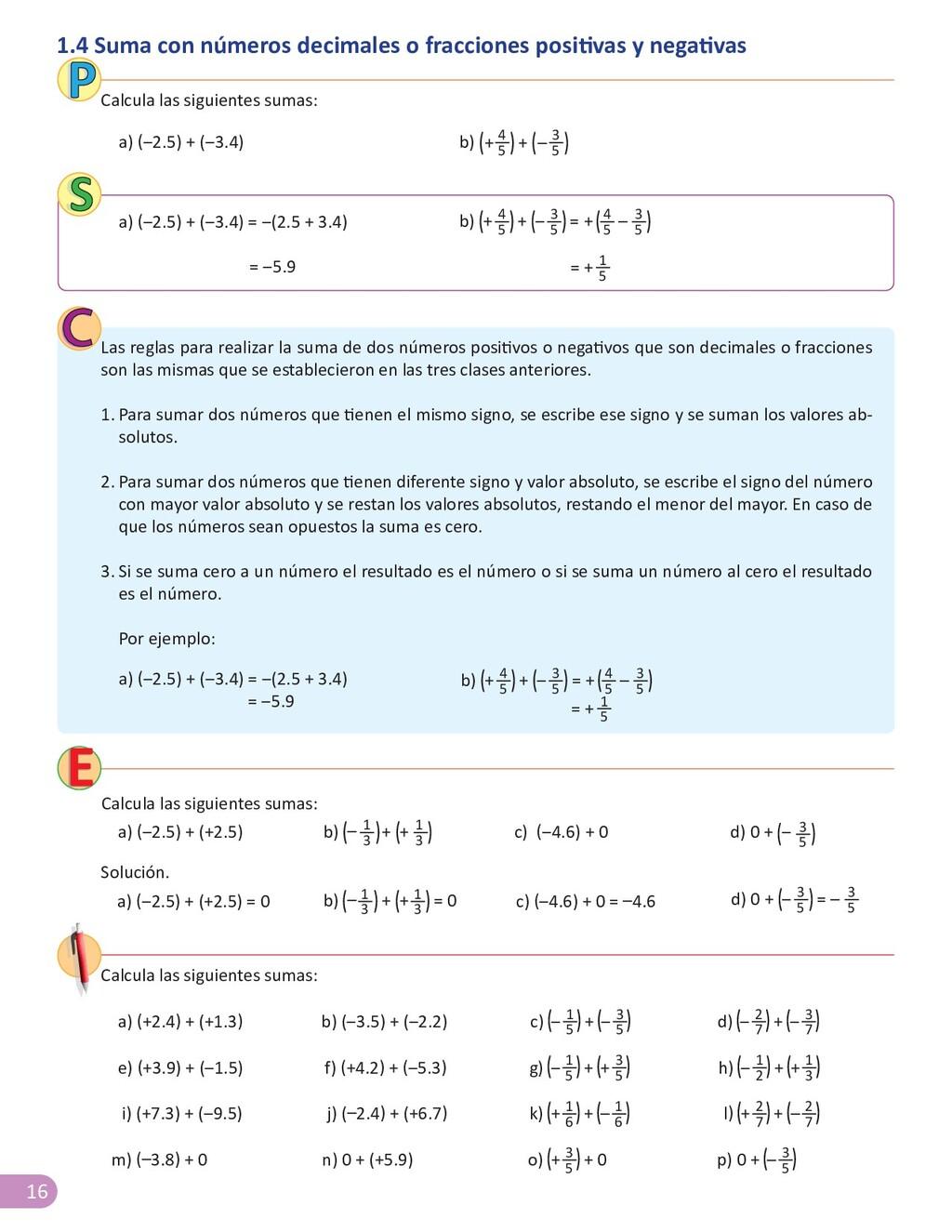 16 1.4 Suma con números decimales o fracciones ...