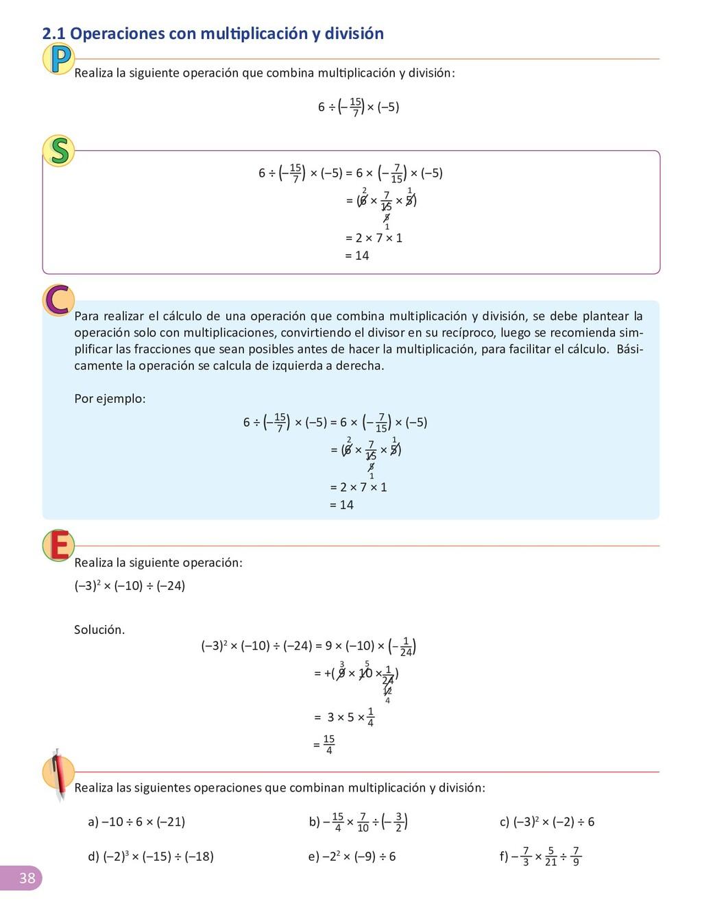 38 2.1 Operaciones con multiplicación y divisió...