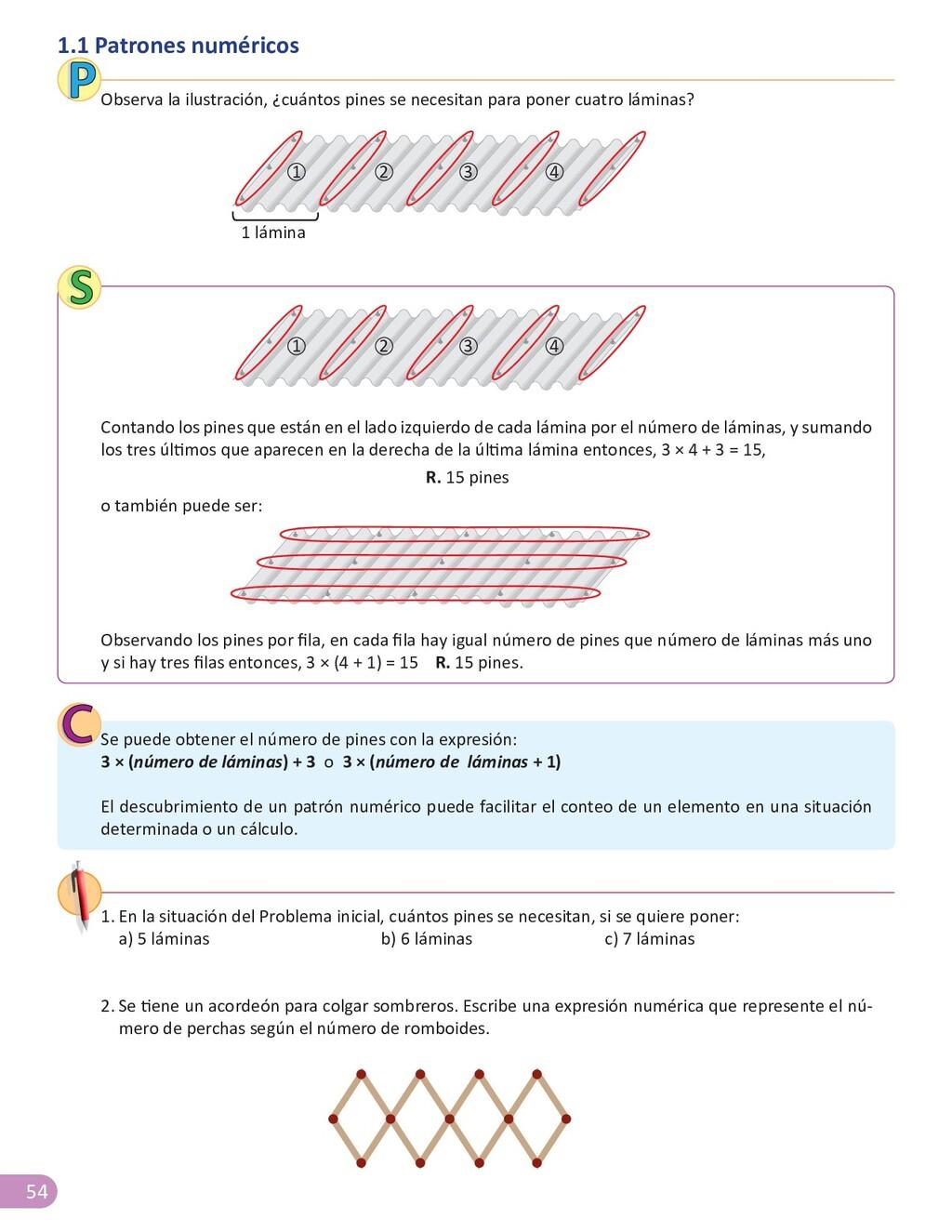 54 1.1 Patrones numéricos Contando los pines qu...