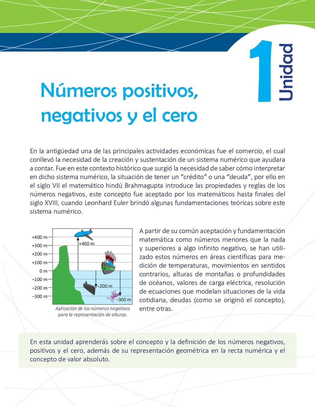 1 Números positivos, negativos y el cero En la ...