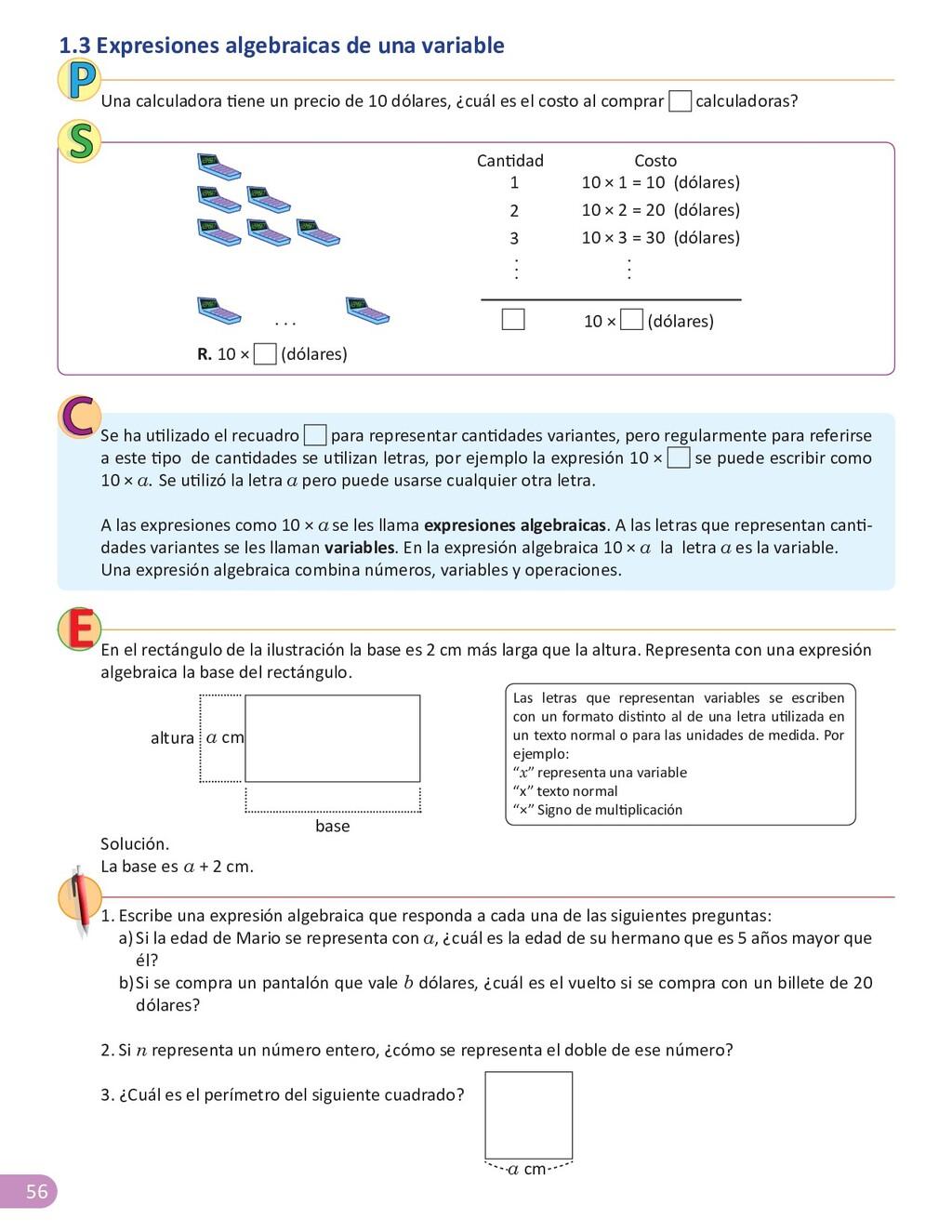 56 1.3 Expresiones algebraicas de una variable ...