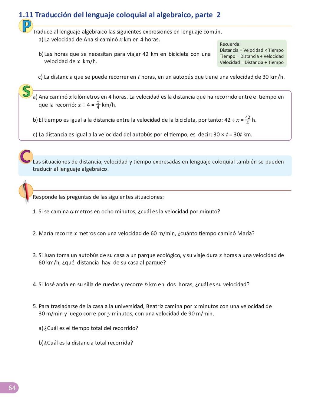 64 1.11 Traducción del lenguaje coloquial al al...