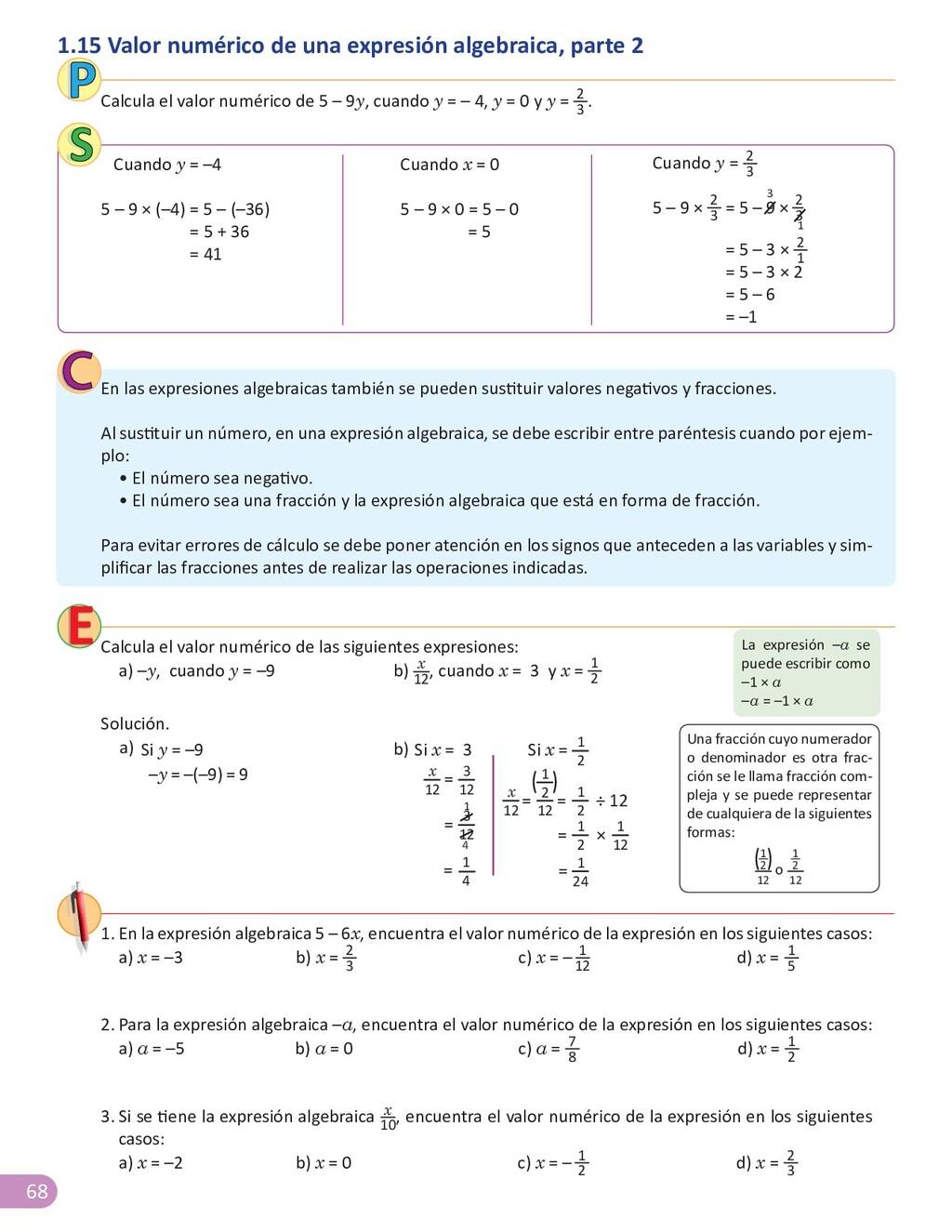 68 1.15 Valor numérico de una expresión algebra...