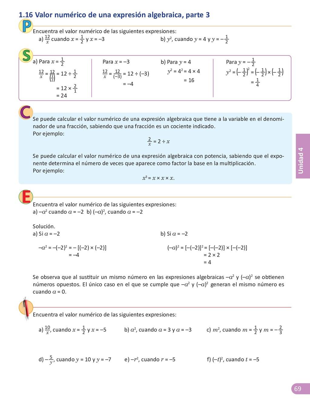 69 Unidad 4 1.16 Valor numérico de una expresió...