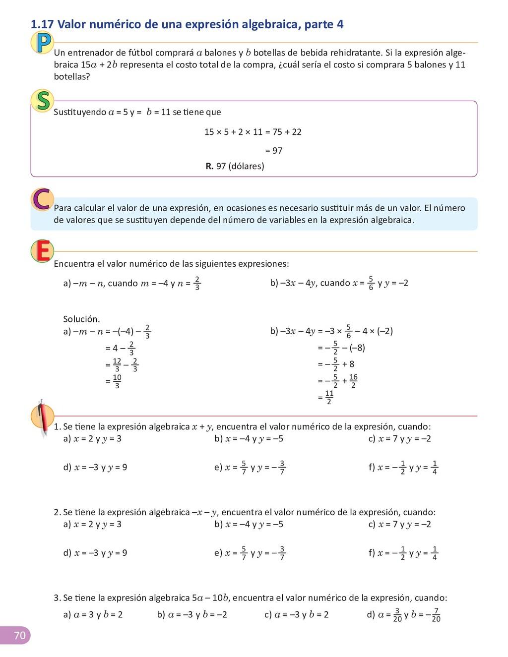 70 1.17 Valor numérico de una expresión algebra...