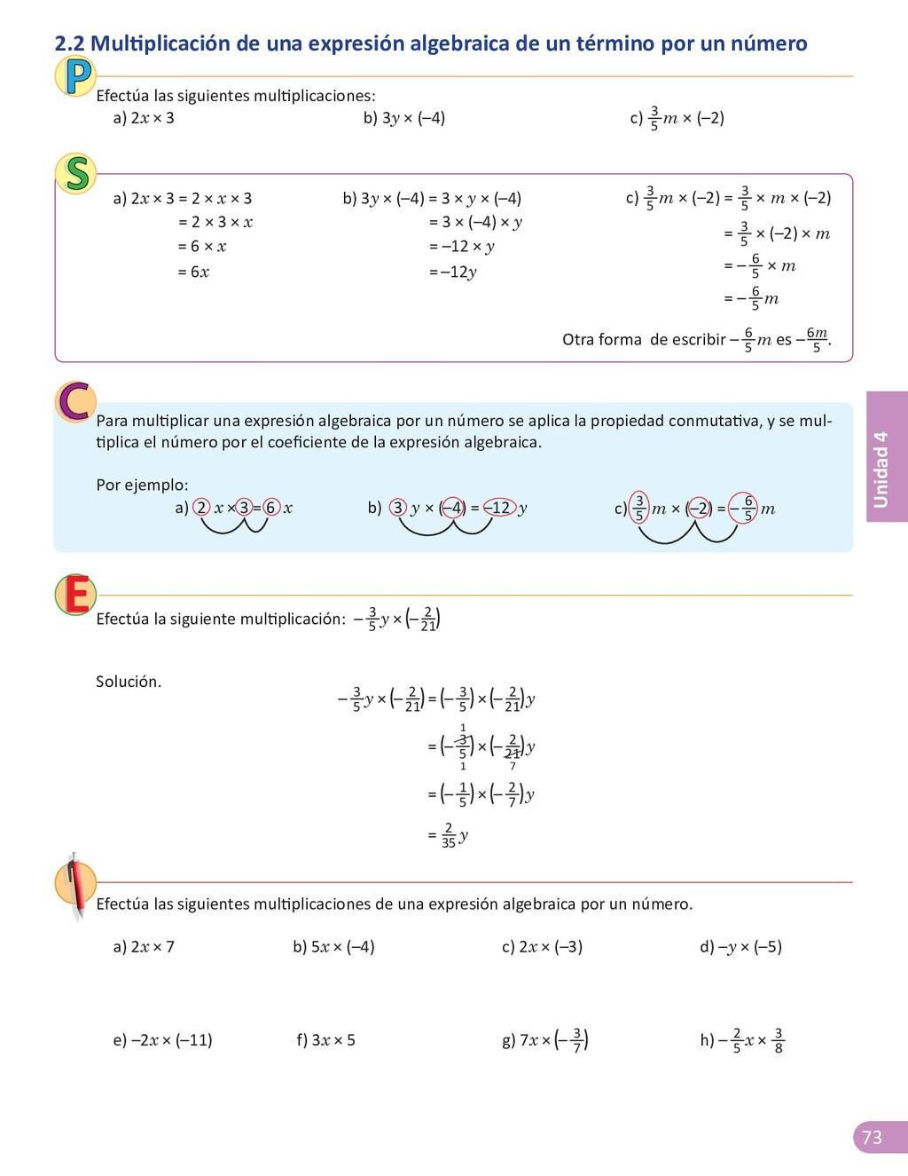 73 Unidad 4 2.2 Multiplicación de una expresión...