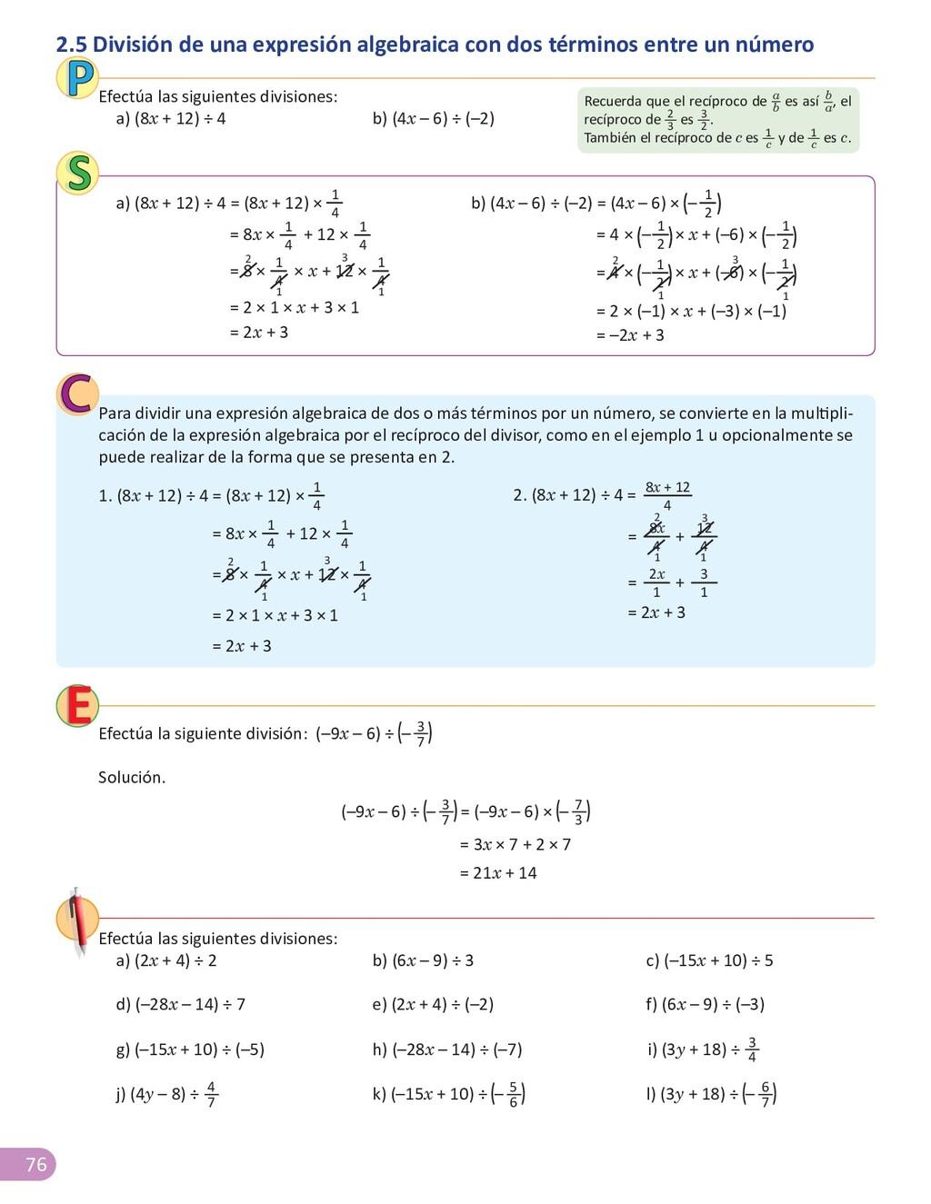 76 1 2.5 División de una expresión algebraica c...