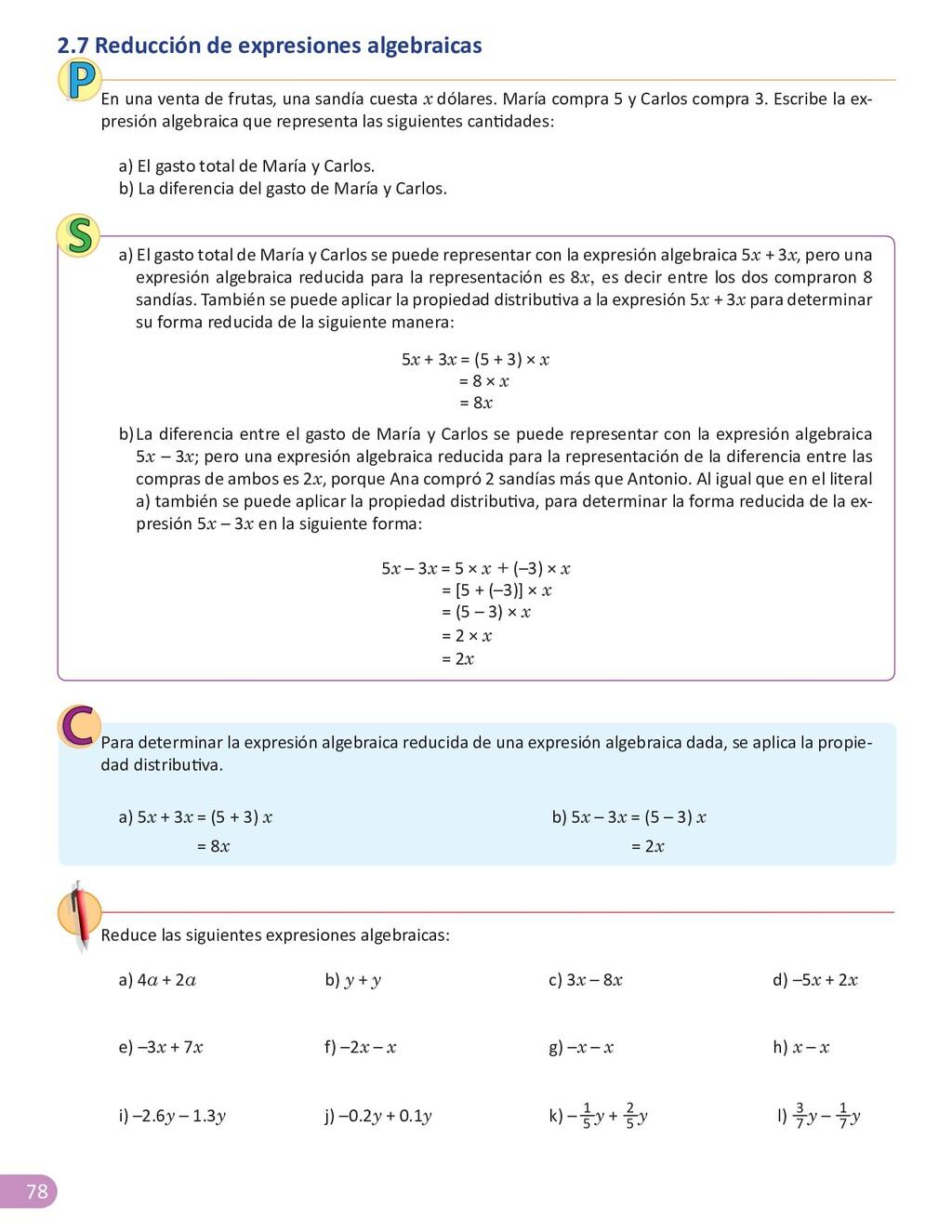 78 2.7 Reducción de expresiones algebraicas En ...
