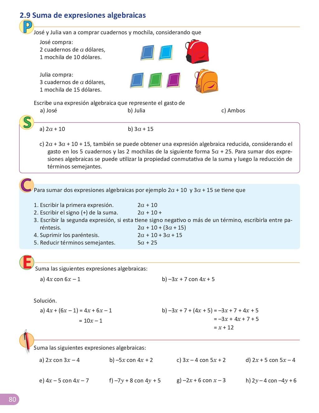 80 2.9 Suma de expresiones algebraicas José y J...