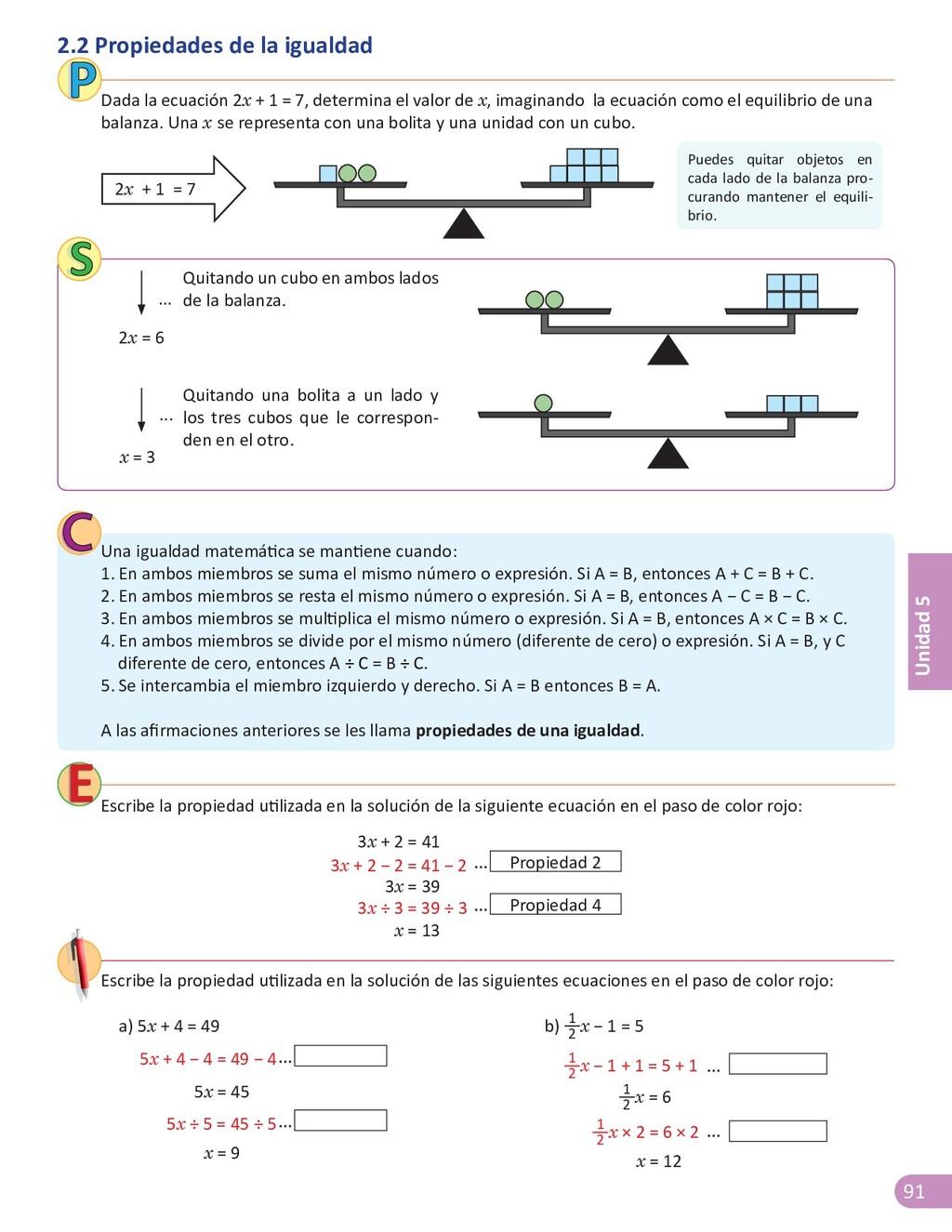 91 Unidad 5 Dada la ecuación 2x + 1 = 7, determ...