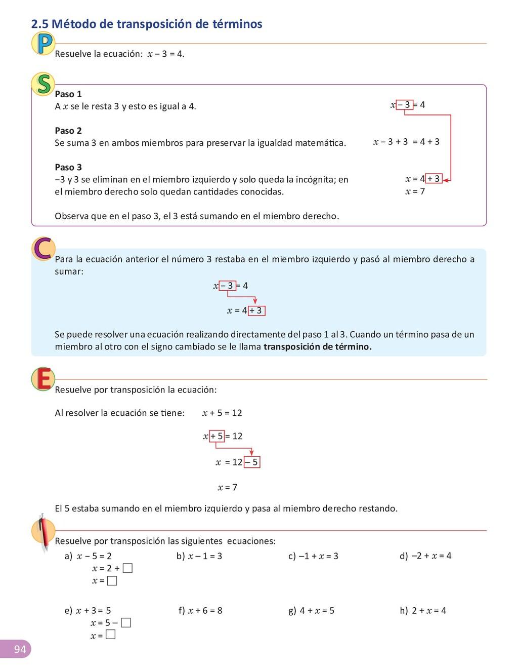 94 Resuelve la ecuación: x − 3 = 4. Paso 1 A x ...
