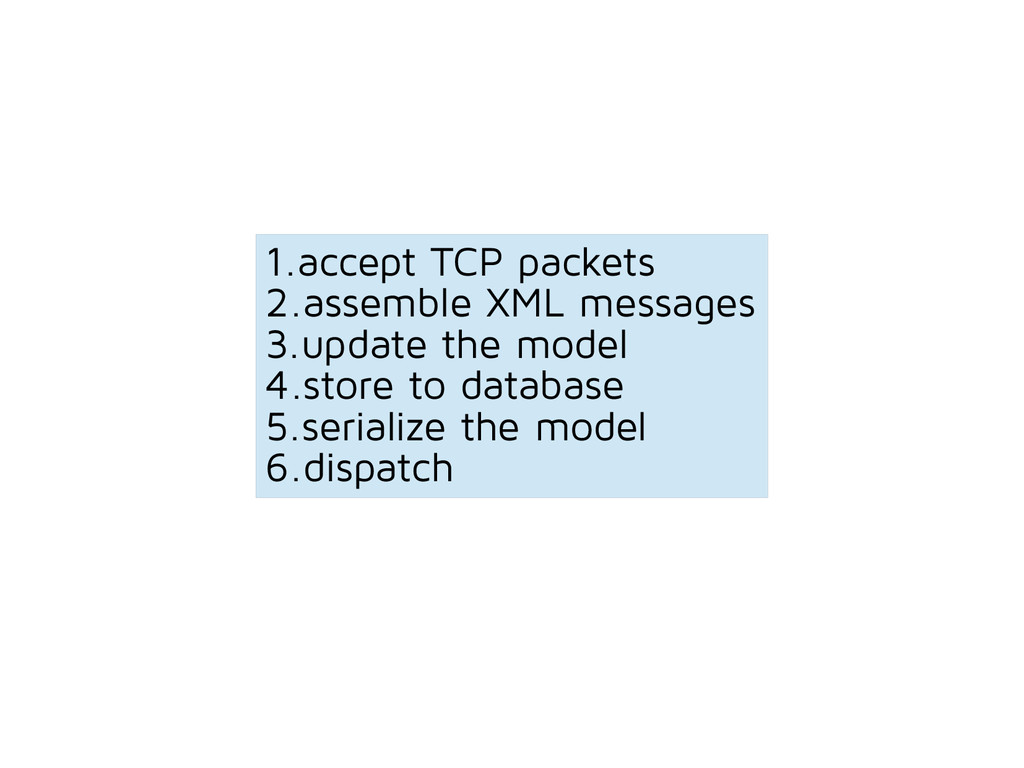 1.accept TCP packets 2.assemble XML messages 3....
