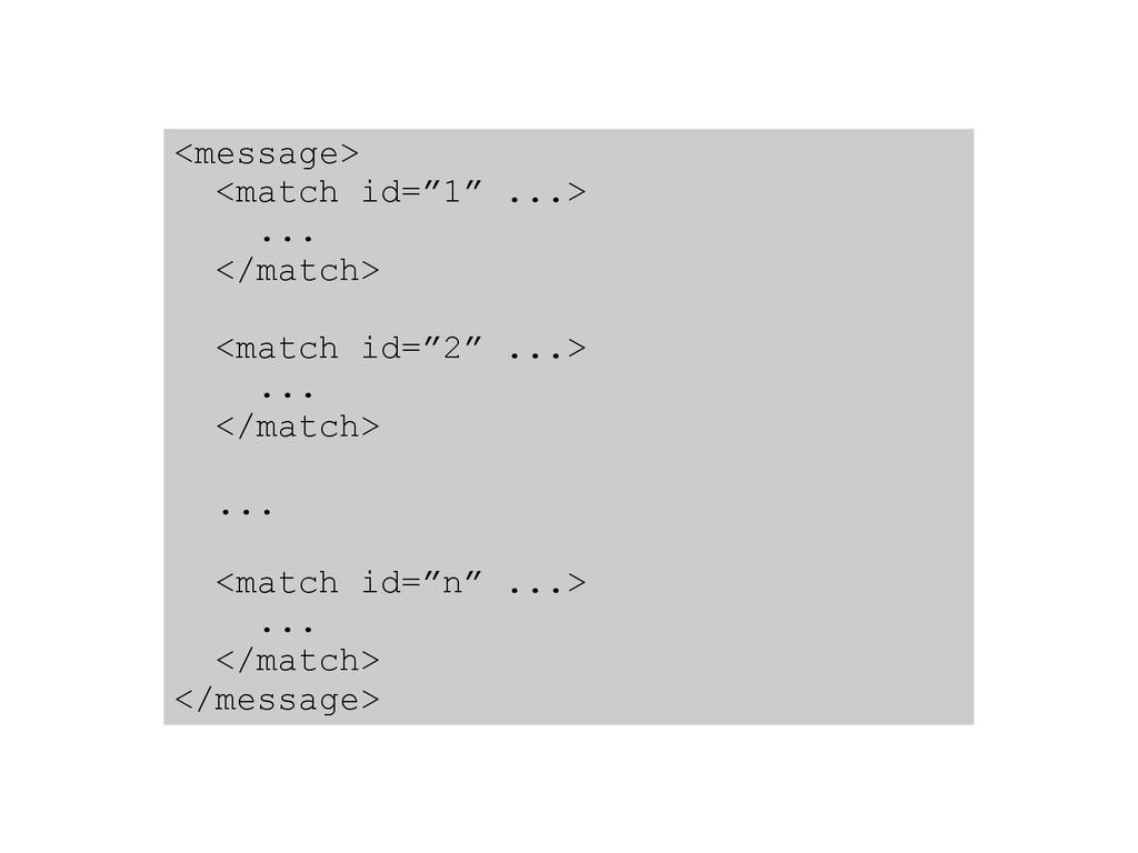 """<message> <match id=""""1"""" ...> ... </match> <matc..."""