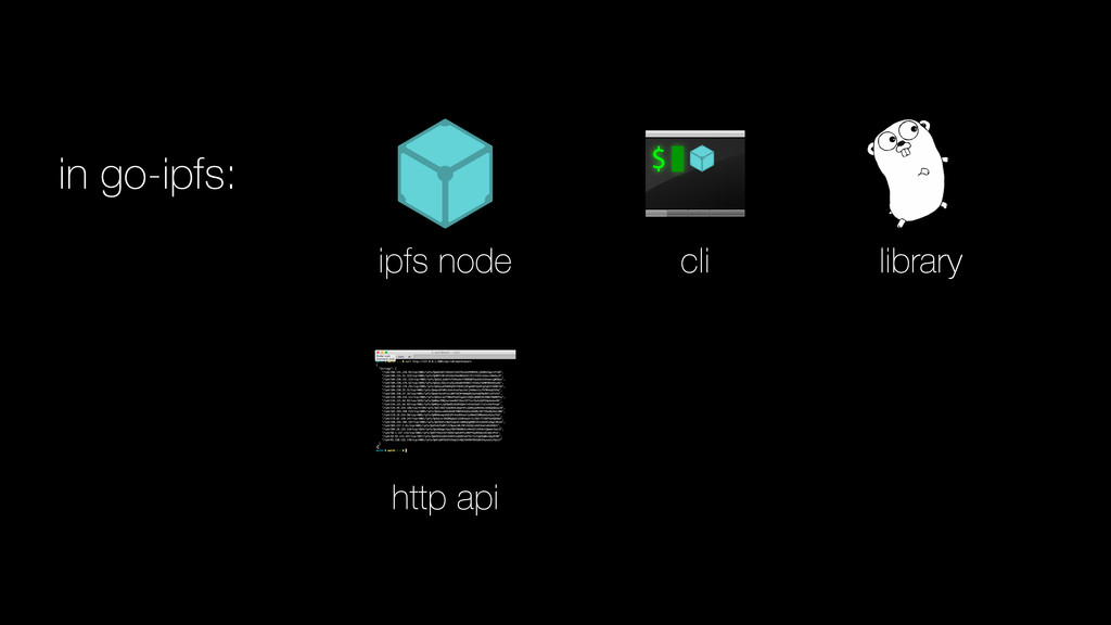 in go-ipfs: ipfs node cli library http api