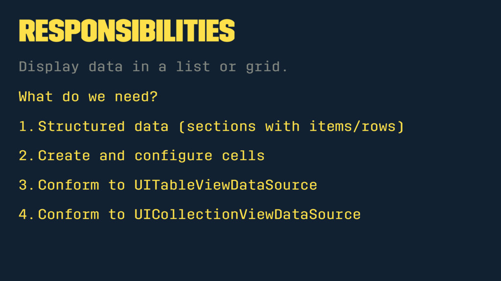 Responsibilities Display data in a list or grid...