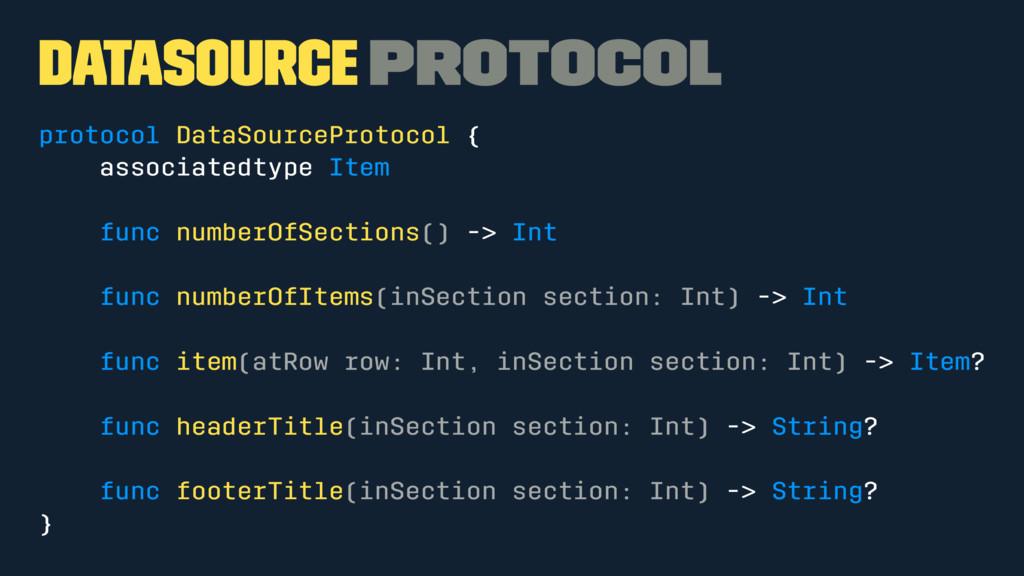 DataSource Protocol protocol DataSourceProtocol...