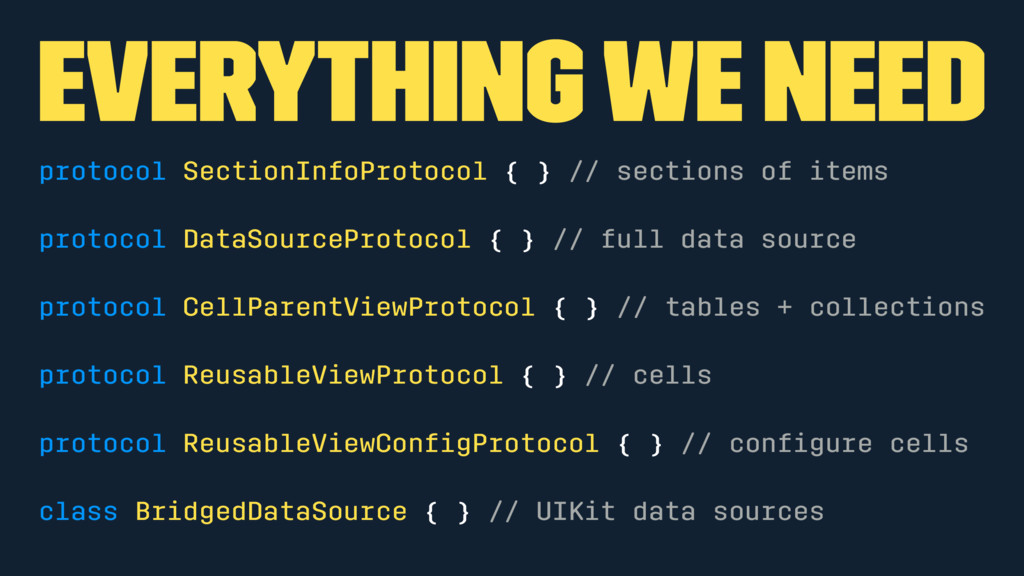 Everything we need protocol SectionInfoProtocol...