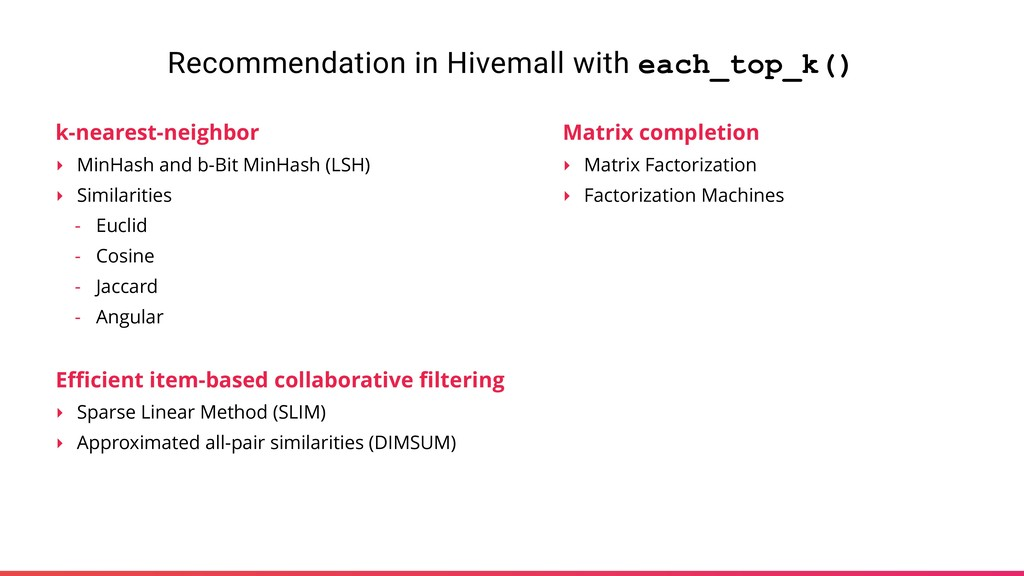 Recommendation in Hivemall with each_top_k() k-...