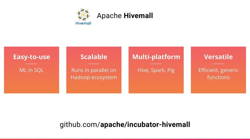 Apache Hivemall Easy-to-use ML in SQL Scalable ...