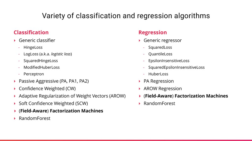 Variety of classification and regression algori...